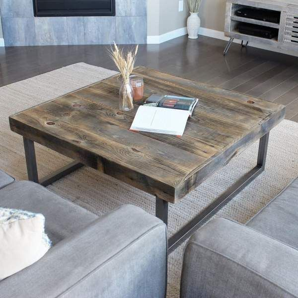 Reclaimed Wood Coffee Table Square With Tube Steel Legs Modern