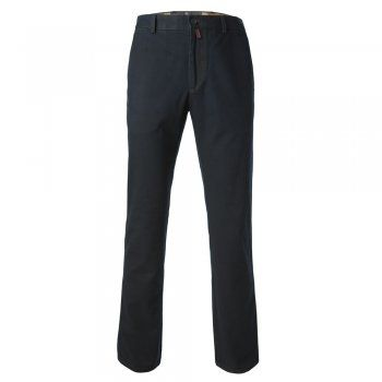 A classic navy tailored fit casual chino. The fabric is a soft cotton canvas with a small % of stretch, making this a very comfortable trouser. Features include - zip fly, contrast stitching detail, narrow belt loops, a finished hem, side pockets and double jett button hip pockets, Magee leather tab at the back and gooffer loop.