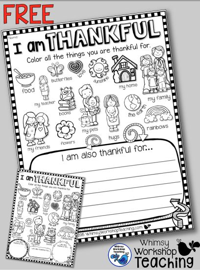 FREE printables to help with discussions on thankfulness! 2 versions at Whimsy Workshop Teaching .com