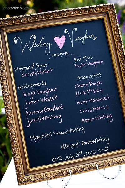 Bridal Party: Wedding Parties, Cute Ideas, Chalkboards Wedding Program, Events Planners, Bridal Shower, Bridal Parties, Chalkboard Wedding Programs, Bridal Party'S, Chalkboards Frames