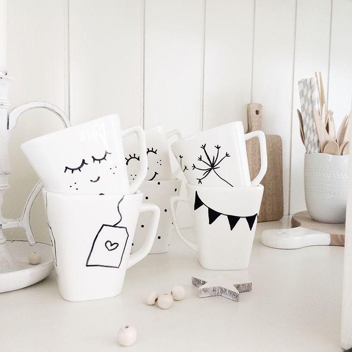 DIY painted mugs ☆