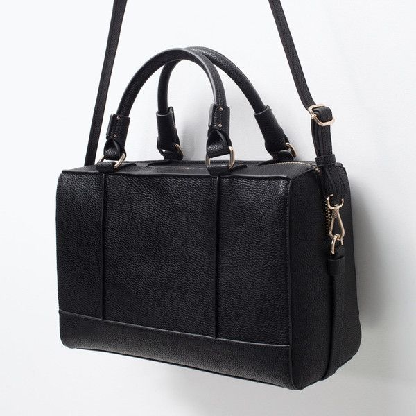 Zara Bowling Bag With Edging (78 CAD) ❤ liked on Polyvore featuring bags, handbags, zara bags, bowler purse, bowler bag, zara purses and zara handbags