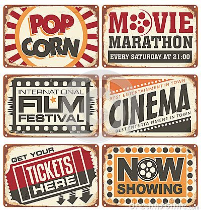 Vintage Sign Design | Set of vintage cinema metal signs. Retro cinema creative design ...