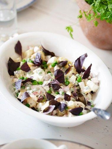 Basilikainen perunasalaatti   Helpon ja nopean salaatin juju on punaisessa basilikassa, joka sekä maustaa että koristaa salaatin.