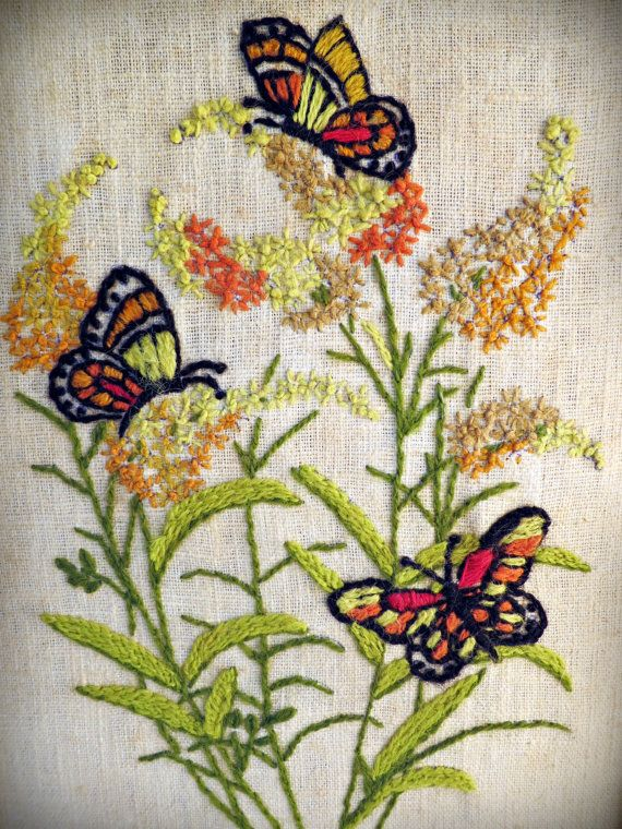 Vintage framed butterfly wall art Crewel by BloobirdiesVintage, $28.00