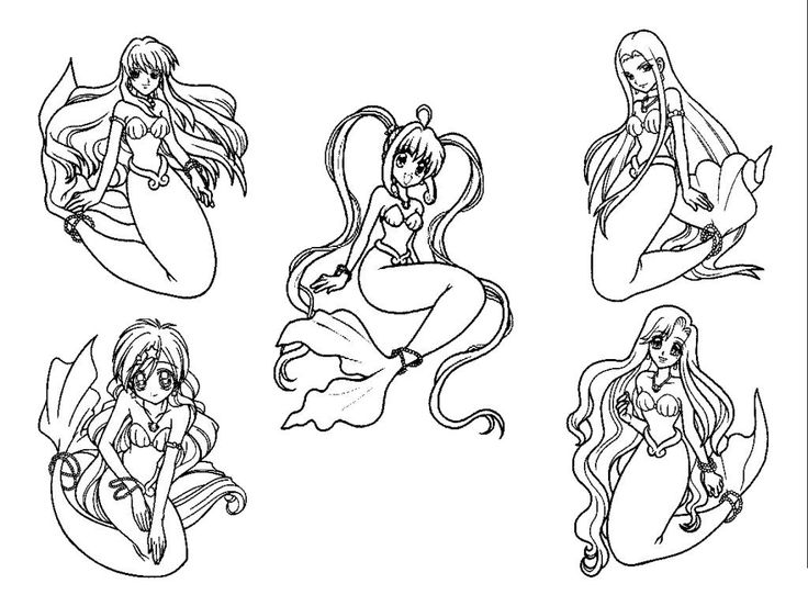 Mermaids With His Family Coloring Pages For Kids Printable