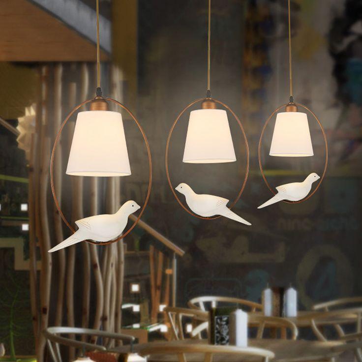 2016 New Hot lustre genuine zinc vintage bird bedroom lamp LED pendant lights Top novelty Indoor Lights birdcage light