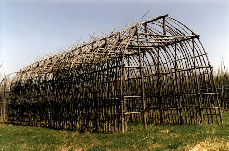 Flat-end longhouse frame, typical of Iroquois & Huron construction.  Such longhouse construction was permanent and stable.