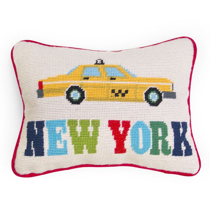 New York Needlepoint Throw Pillow