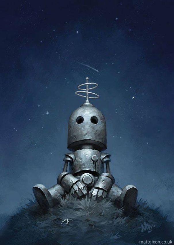 Matt Dixon est un illustrateur freelance qui affectionne de peindre des robots solitaires