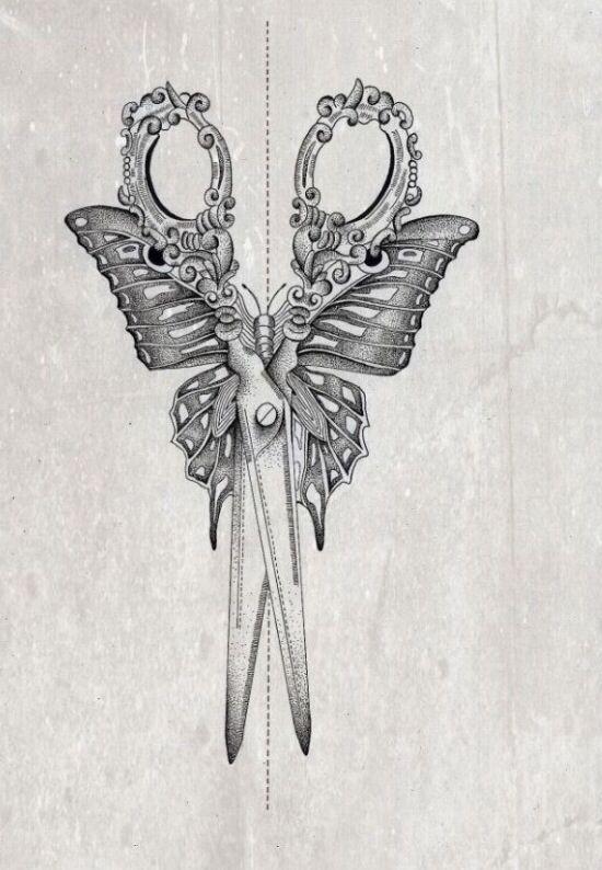 Pretty sewing scissors, butterfly tattoo idea