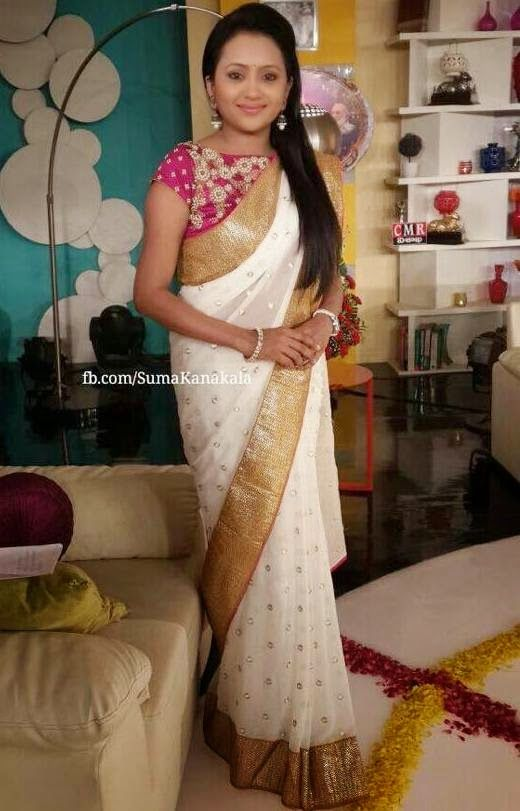 Suma Kanakala White Designer Saree | Saree Blouse Patterns