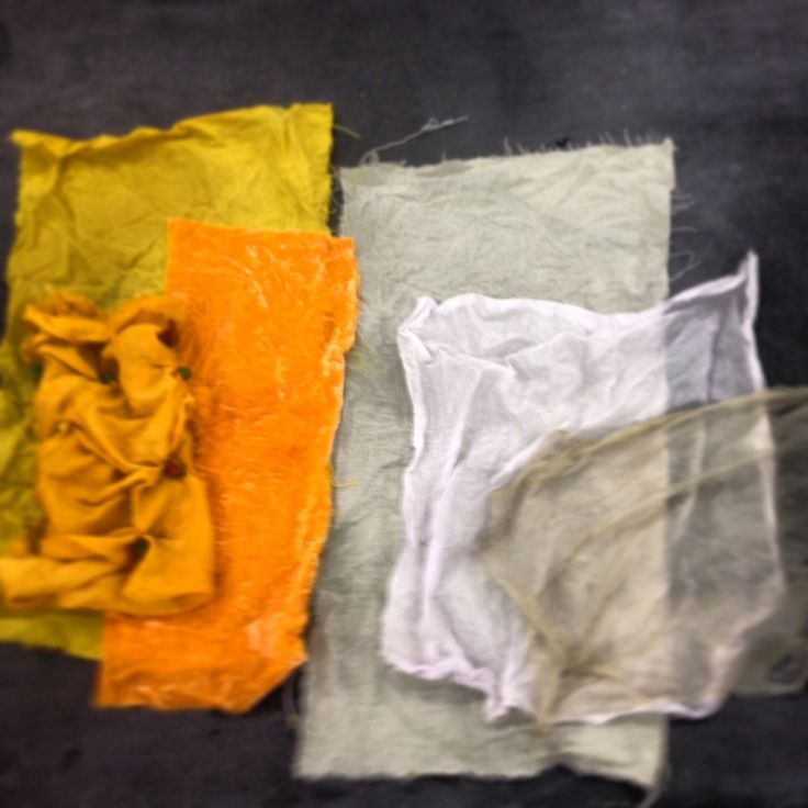 Natural dyes on silk, cotton and linen