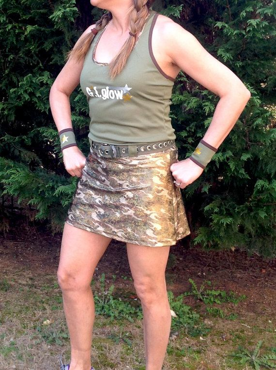 G.I. glow complete running outfit skirt option by iGlowRunning, $80.00; Warrior Dash costume idea?