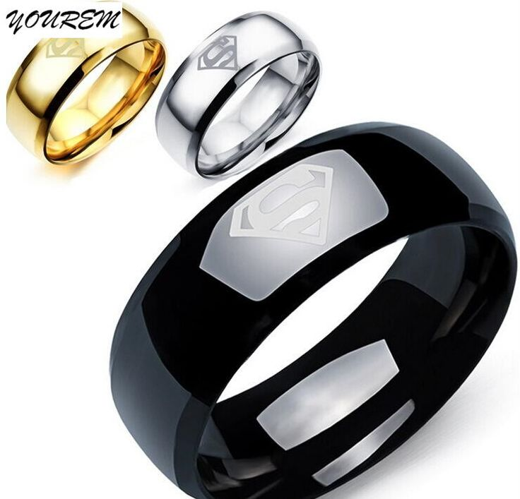 Superman Stainless Steel 18K Gold Plated Anti Allergy 8mm Men Rings //Price: $8.69 & FREE Shipping //