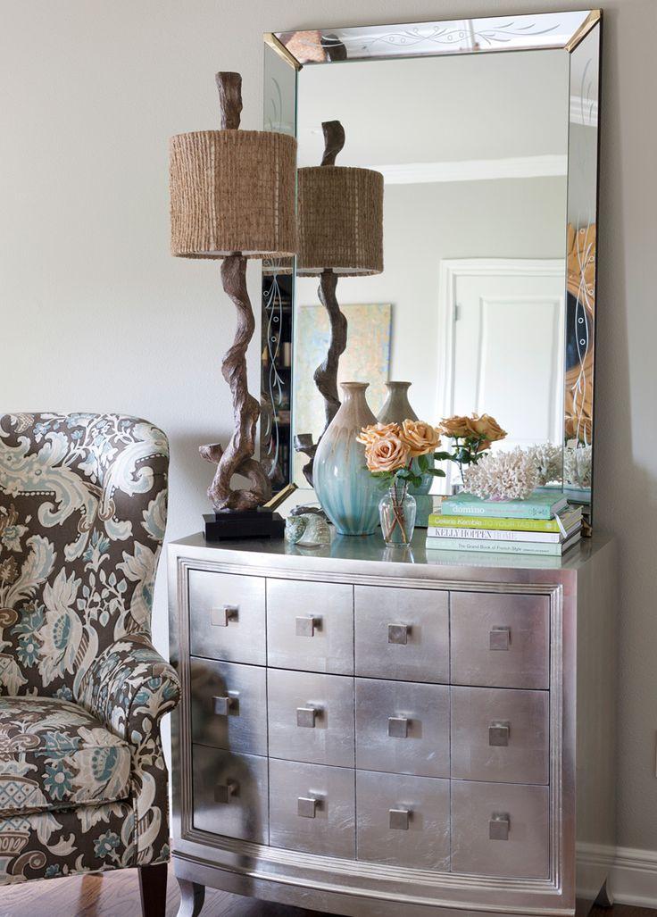 Sleek Silver Leaf Dresser With Gorgeous Driftwood Lamp