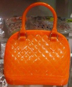 Girls Orange Textured Jelly Handbag