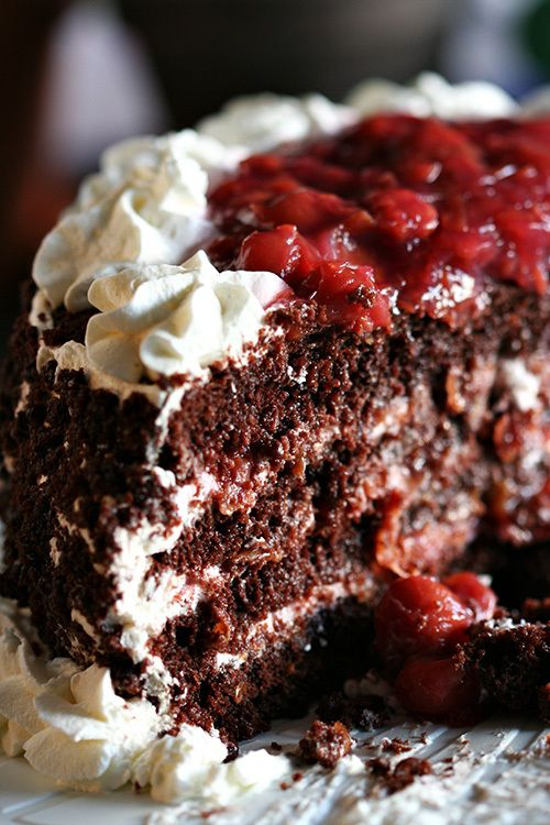 Black Forest Cake, hands down my favorite cake.  Perfection.  Very good!  I had to use canned cherries in heavy syrup so I would use less sugar in filling.