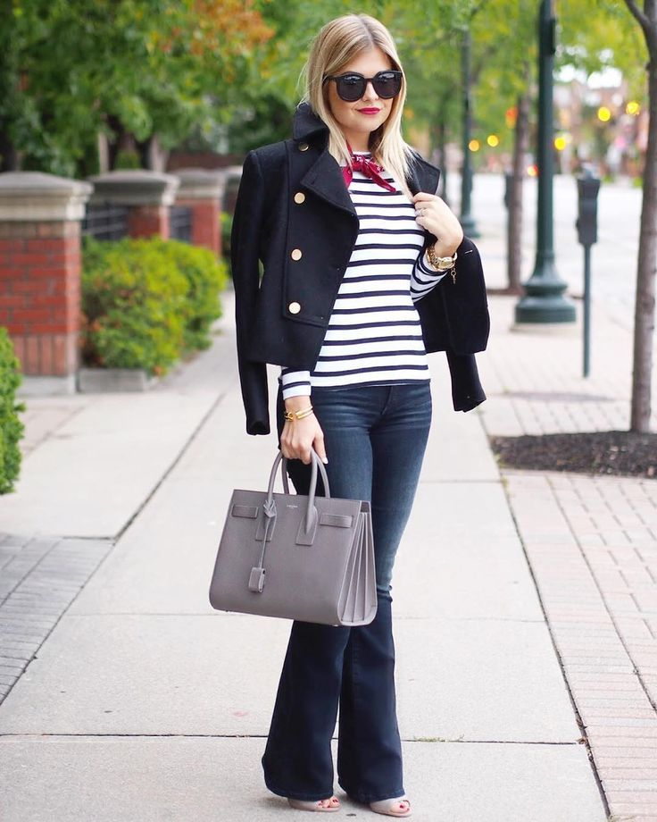 Stripes + Navy peacoat + flare jeans = perfect fall transitional outfit