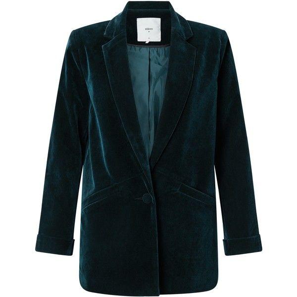 Minimum Sigga Velvet Blazer, Thunder Blue (2,335 MXN) ❤ liked on Polyvore featuring outerwear, jackets, blazers, collar jacket, blue blazer jacket, patterned blazer, long sleeve jacket and blazer jacket