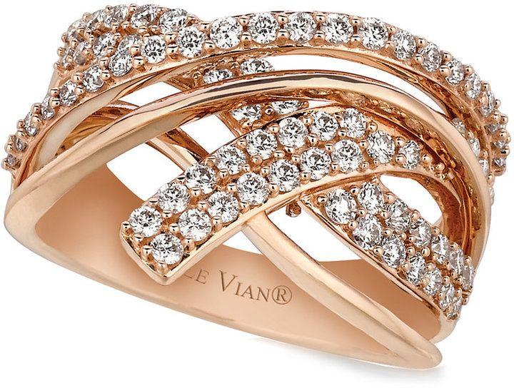 Le Vian Diamond Diamond Crossover Ring (9/10 ct. t.w.) in 14k Rose Gold