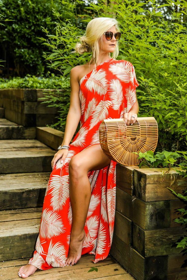 Palm Spring Paradise Flame Red One Shoulder Maxi Dress at reddressboutique.com