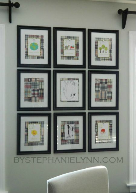 i love this idea!  I would just let the tin show so I could display large pieces.  Or use various size frames...hmmmmm