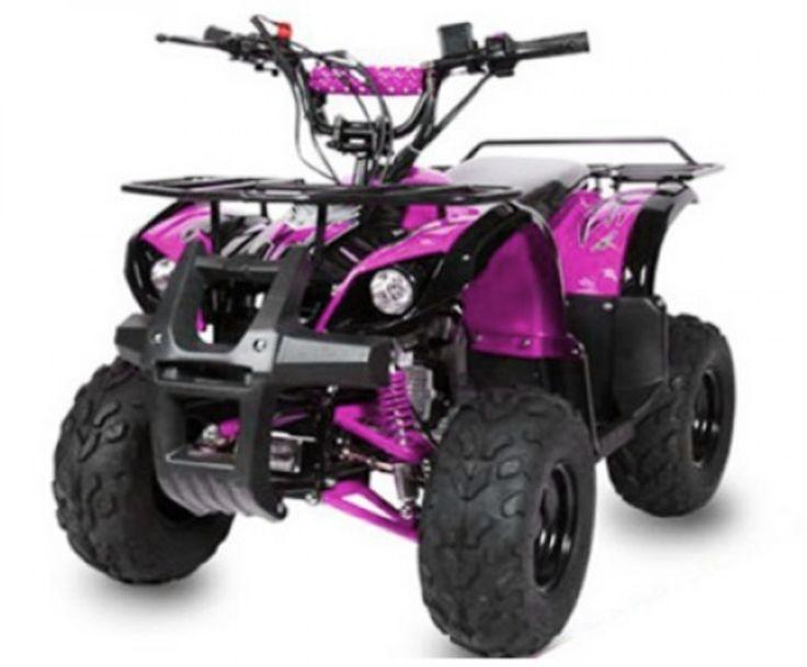 """Le Toronto RG7 125cc de couleur rose est un quad de belle envergure (L x l x h) 152cm x 94cm x 95cm, d'une hauteur de selle de 70cm et d'un empattement de 93cm Côté confort, il est muni de 2 amortisseurs indépendants à gaz à l'avant et 1 mono-amortisseur à l'arrière, de pneus 7 pouces à crampons pour plus de stabilité. Il pèse à vide 94Kg et peut supporter au maximum un poids à charge de 120Kg.  Le réservoir pour ce modèle à une capacité de 3 litres.  Modèle """"Toronto RG7 Automatique 125cc""""…"""