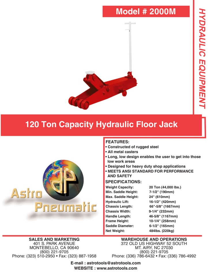 20 Ton Capacity Hydraulic Floor Jack Working area