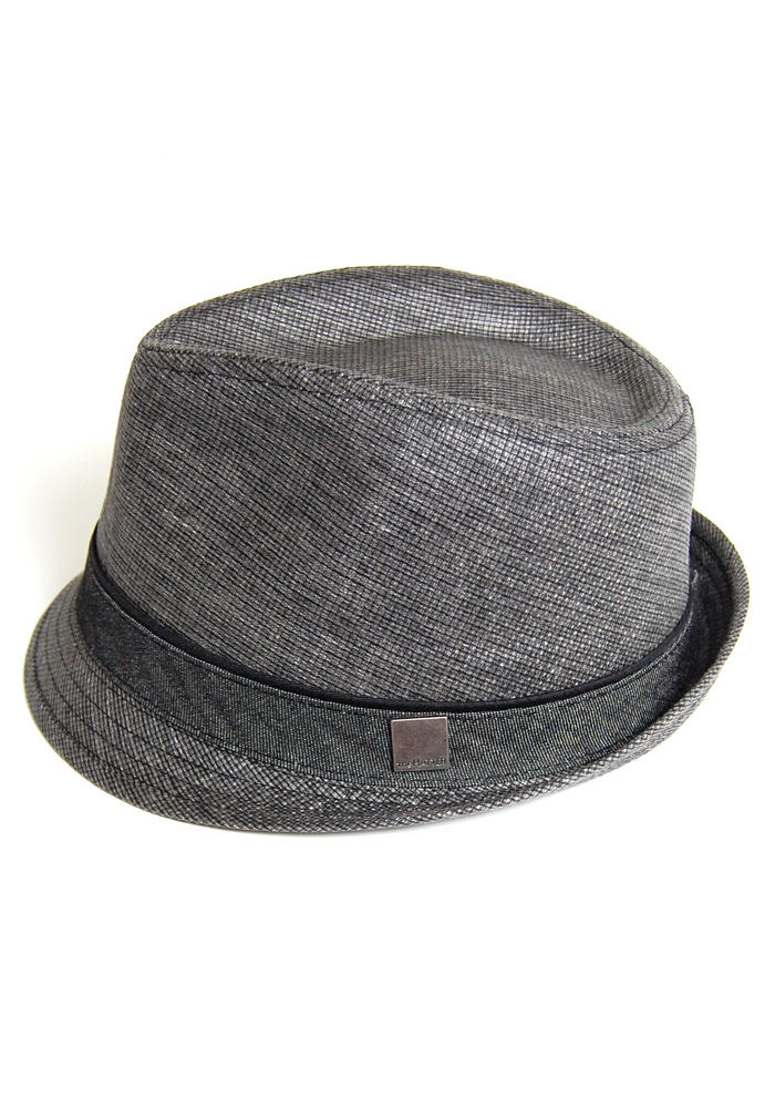 trilby woven hat / fedora in charcoal grey $23