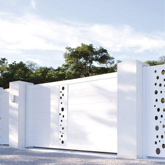 Portail coulissant aluminium, Mix-it! NATERIAL, blanc blanc n°0, 350x170cm