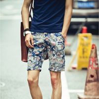 Shorts Men's sports shorts  2015 summer new men's Korean washed denim shorts for men cat scratch Floral shorts free shipping