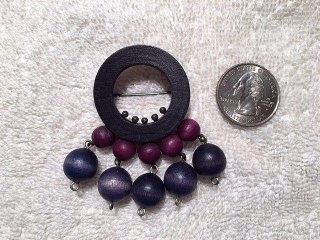 AARIKKA Finland - Vintage Kinetic Brooch, Purple & Blue Wood Beads Hallmarked #Aarikka