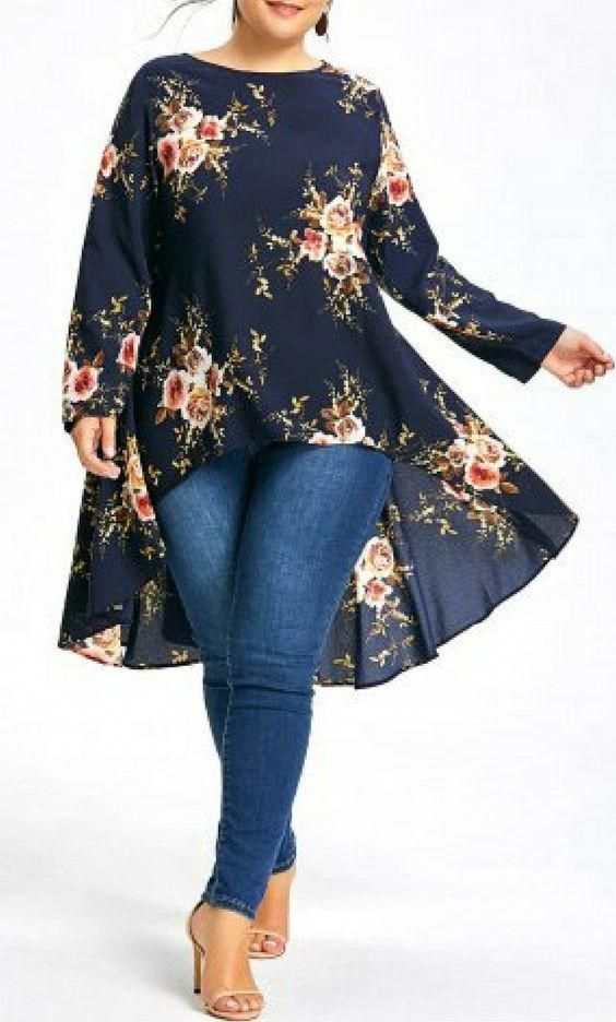 Plus Size Floral Printed Long Chiffon High Low Top 11