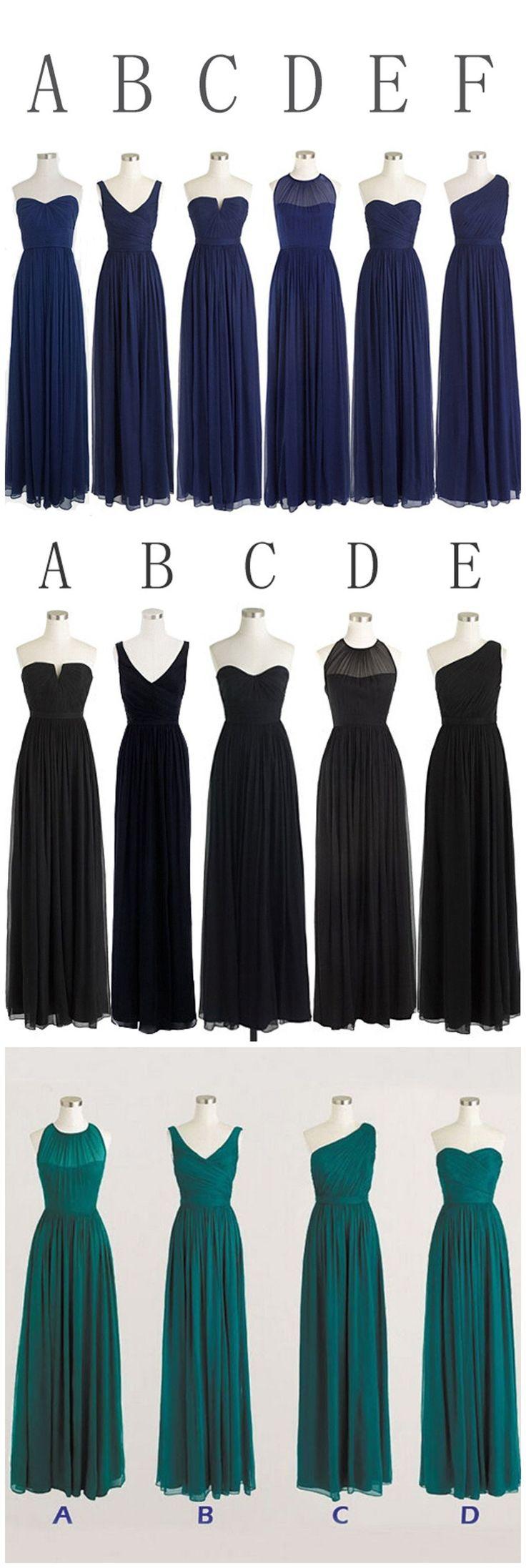 Classic Popular Navy Blue Mismatched Chiffon Formal Cheap Long Bridesmaid Dresses, WG302