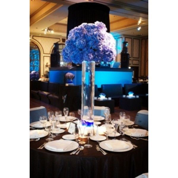 "Blue Tall Wedding Centerpieces | Blue Hydrangea Centerpiece"" Hydrangeas"