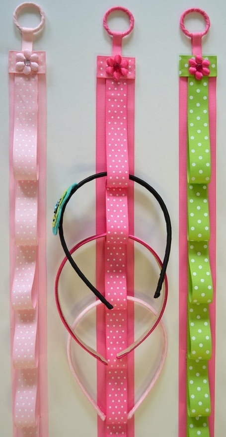 ThanksHead band holder... could attach hair clips to ribbon loops too.... Need to make this for all my kids headbands! awesome pin