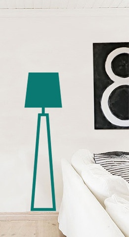 Decorate your wall with a sticky and funky floor lamp in the color of your own choice. Join the pieces of the sticker and your composition will reach 165 cm height
