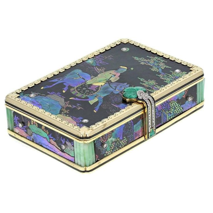 Cartier Jade Diamond Gold Lac Burgauté Chinoiserie Vanity Case | From a unique collection of vintage boxes and cases at https://www.1stdibs.com/jewelry/objets-dart-vertu/boxes-cases/