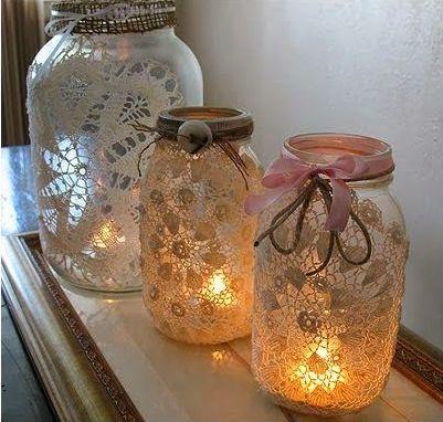 DIY lace jars