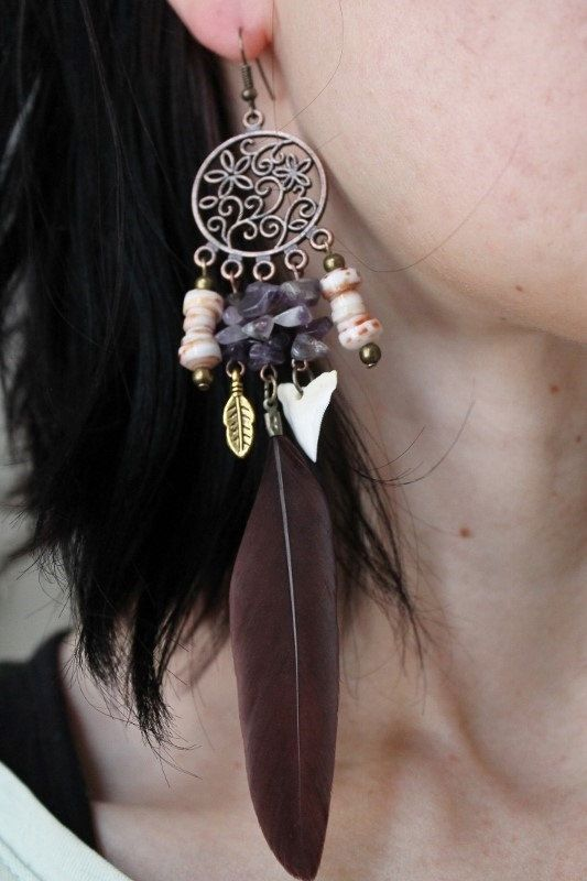 Dream catcher statement earrings with amethyst stones and tiger shark teeth by SuryaSoul, €22.00
