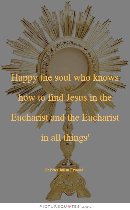 "Happy the soul who knows how to find Jesus in the Eucharist and the Eucharist in all things- St Peter Julian Eymard ""Apostle of Adoration"" #mypic"