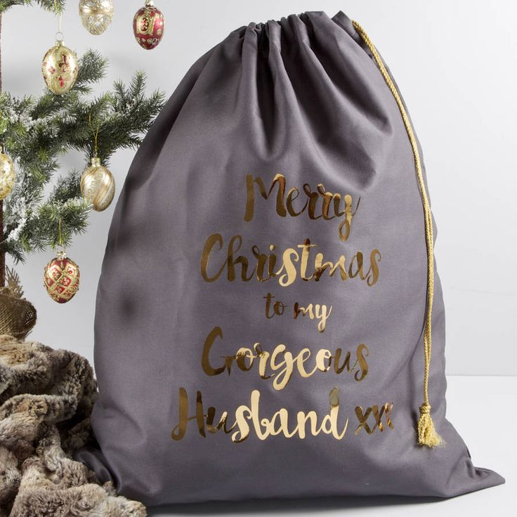 Personalised Christmas Sack With Copper Print. New from The Alphabet Gift Shop these gorgeous Christmas sacks are a grown up take on a kids christmas classic!