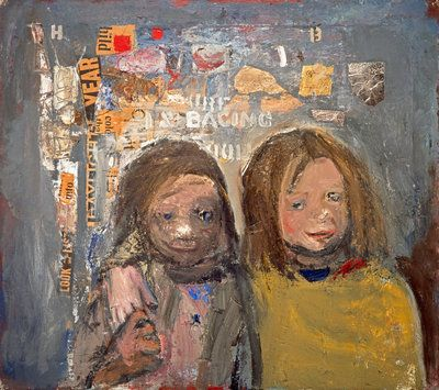 Joan Eardley, children and chalked wall 3, 1963