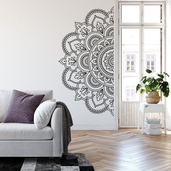 Mandala Wall Art Sticker Half Mandala Wall Decal Large Vinyl Etsy In 2020 Wall Painting Decor Simple Wall Paintings Diy Wall Painting