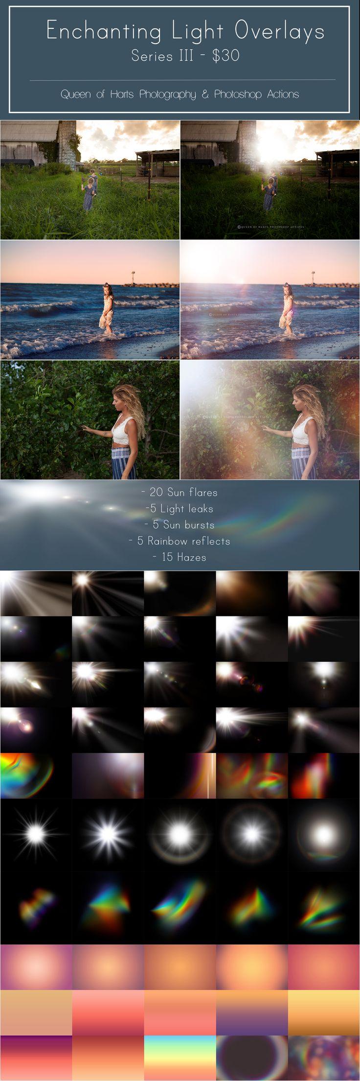 The best sun flare & light overlays for Photoshop. Only $30. #overlays #photoshop #sunflares #lightoverlays #lightleaks #rainbows #haze #hazeoverlays #bokeh