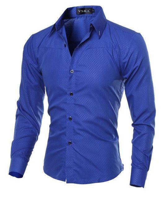 Fashion Men Shirt Brand Dark Lattice Mens Business Shirts Breathable Fit Shirt Casual Long Sleeve Dress Shirts Solid Large Size