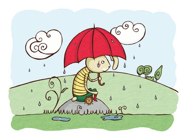 Bunny and friend - it's raining 24x18cm