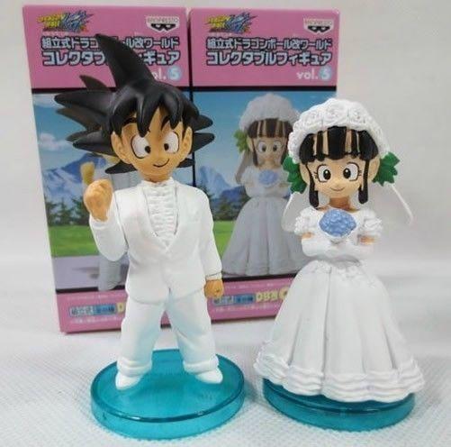 Anime+Dragonball+Z+Goku+&+Chichi+Wedding+Bride+&+Groom+Figure+Set+8cm+tall