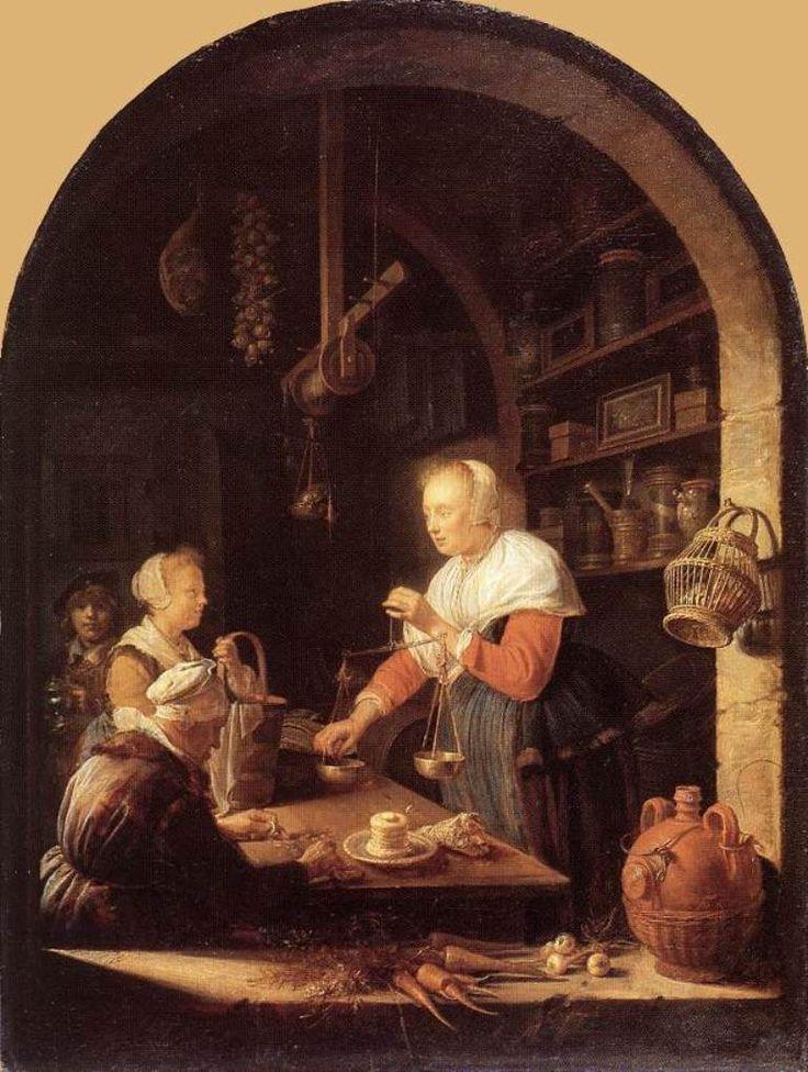 Gerard Dou: de kruidenierswinkel (de kruidenier) 1647. Lourvre, Parijs. Het vroegste genreschilderij van Dou met boogvenster is de kruidenierswinkel uit 1647. Dit is de eerste 17e eeuwse Hollandse winkelscène. Het is een dorpskruidenier. Op de vensterbank wortels, uien en een kruik met olie. Aan de raampost een mand eieren. Op de planken verschillende kruidenierswaren. De bazin staat achter de toonbank. Ze weegt de inkopen van het meisjes met haar mand. Een oude vrouw zit haar geld te…